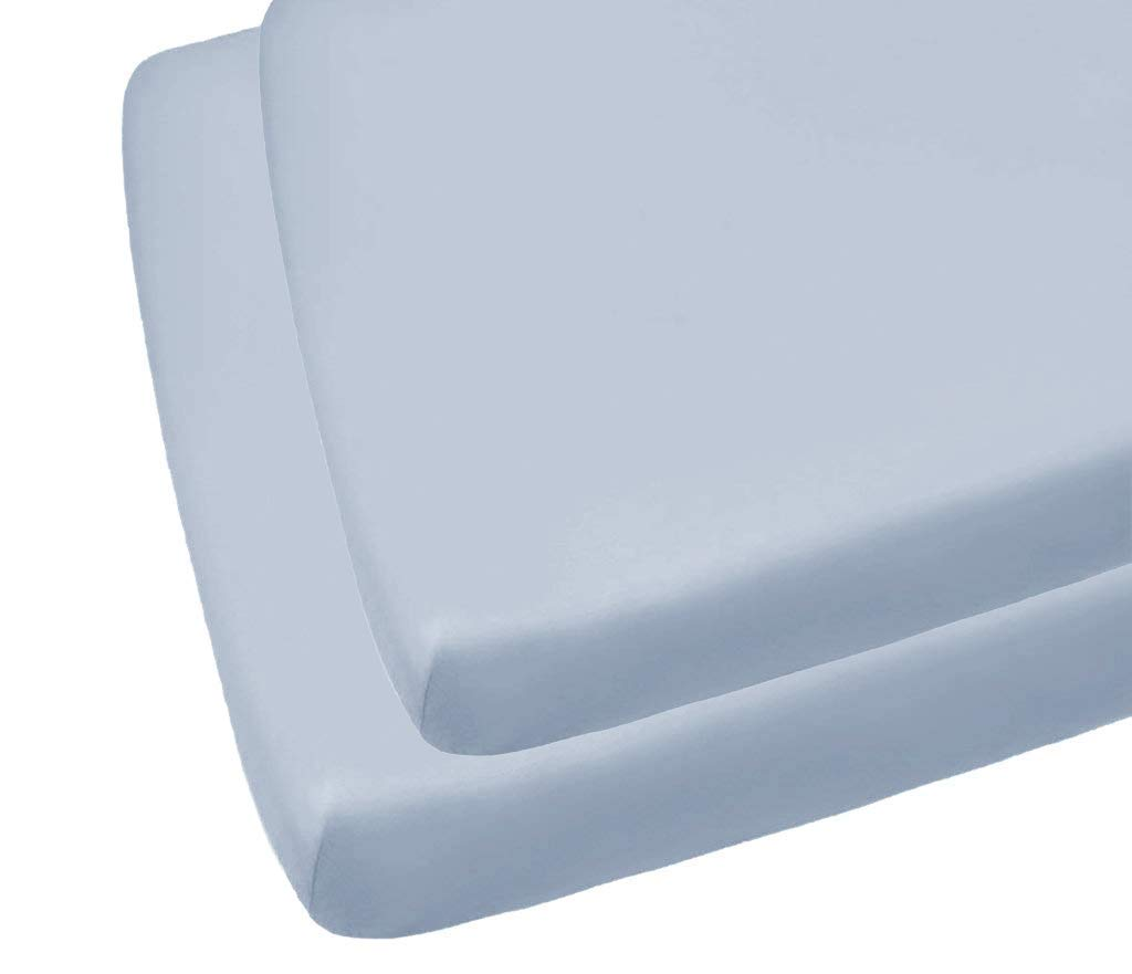 70 x 140CM Sky Blue Cot Bed Easycare Fitted Sheets 2 Pack