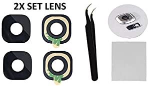 2X Back Rear Camera Glass Lens Cover Replacement + Tool + Guide with TIPS + Adhesives Preinstalled + Tempered Glass + Clean Cloth For Samsung Galaxy S6 G920, S6 G925 Edge Plus, Active ( Any Carriers )