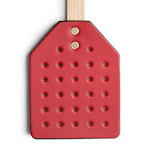 (PrimeHomeProducts Amish Leather Fly Swatter with Wood Handle-Scarlet)