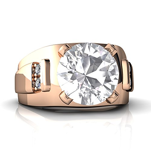 14kt Rose Gold White Topaz and Diamond 9mm Round Men's Ring - Size 11