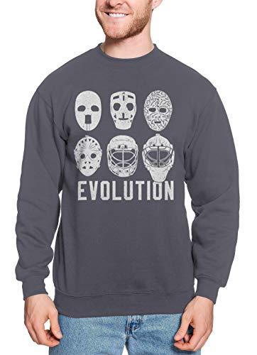 Evolution of Goalie Masks - Ice Hockey Sports Unisex Crewneck Sweatshirt (Charcoal, XX-Large)]()