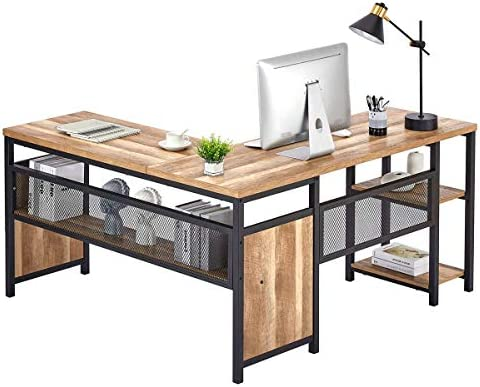 FATORRI L Shaped Computer Desk, Industrial Office Desk with Shelves, Rustic Wood and Metal Corner Desk for Home Office (Rustic Oak, 59 Inch)