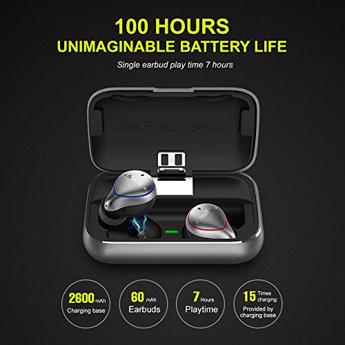 2021 Upgraded Version MIFO O5 True Wireless Earbuds Bluetooth 5.0 Earbuds with 2600mAH Charging Case IP67 Hi-Fi Stereo in Ear Earphones Waterproof Wireless Headphones for Running, Built-in Mic
