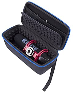 CASEMATIX Rode VMGO Video Mic Go Case To Carry VMGO VideoMic GO Camera Microphone , 3.5mm Patch Cable and Small Accessories - DOES NOT FIT VIDEOMIC PRO OR VIDEOMIC RYCOTE LYRE, FITS VIDEOMIC GO ONLY