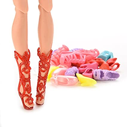 Doll Shoes ~ 1PAIR Red color High Heel Shoes For Repro Barbie feet#S212
