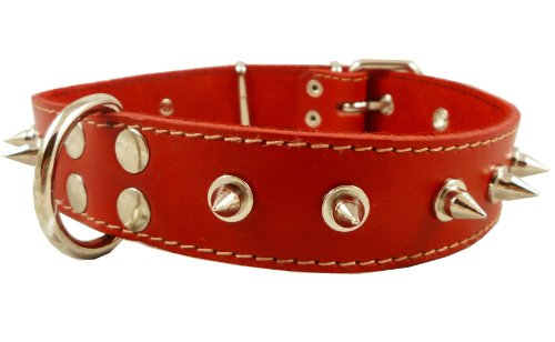 "Dogs My Love Real Leather Red Spiked Dog Collar Spikes, 1.5"" Wide. Fits 17""-21.5"" Neck, Large Breeds."