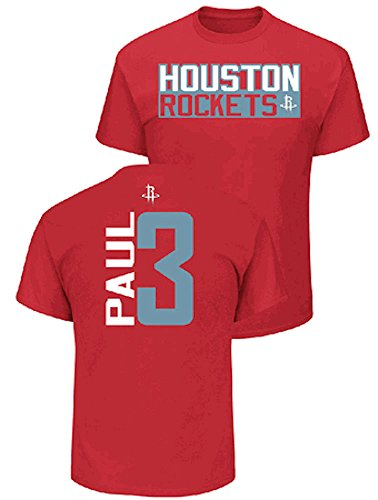 Chris Paul Houston Rockets Mens Red Vertical Short Sleeve T Shirt (Large)