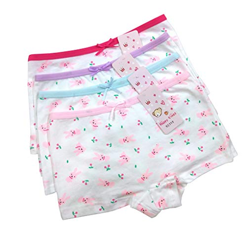 unny Bowknot Princess Panties Set Boyshort Hipster Underwear Pack of 4 Size L/6-8 Years ()