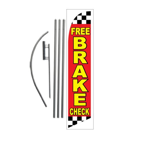 Free Brake Check 15ft Feather Banner Swooper Flag Kit – INCLUDES 15FT POLE KIT w/ GROUND SPIKE Review