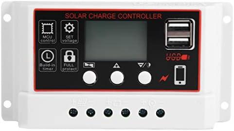 Cabilock 12V 20A Solarladebatterie Solarzellen-Controller Digitaler Ladeentladungsregler mit USB-Ausgang (weiß)