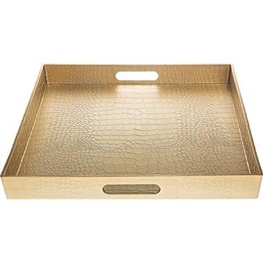 Fantastic:)® Square Alligator Serving Traywith Matte Finish Design (1, Square Alligator Gold)