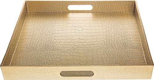 Fantastic:) Square Alligator Serving Traywith Matte Finish Design (1, Square Alligator Gold)