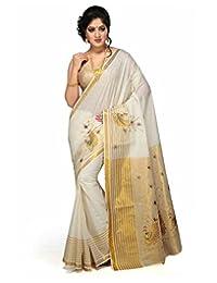 JISB Cotton Kerala Kasavu Thick Zari Saree, with running blouse