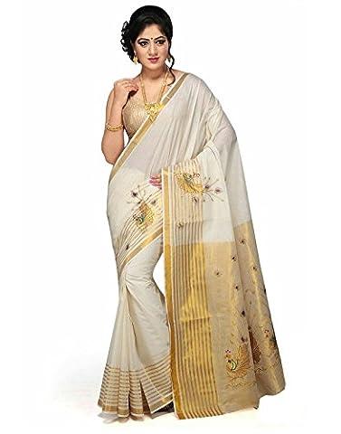JISB Cotton Kerala Kasavu Thick Zari Saree, with running blouse (Kerala South India)