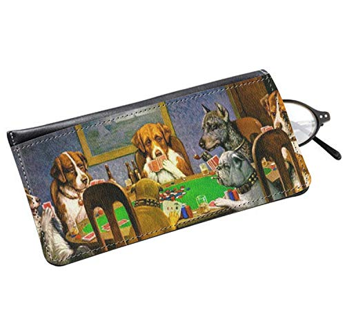 Dogs Playing Poker by C.M.Coolidge Genuine Leather Eyeglass ()