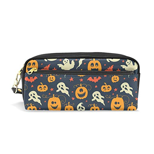 AMONKA Pencil Case Ghost Pumpkin Halloween Pen Holder Cosmetic Makeup Bag Women Durable Stationery Pouch Bag Large Capacity for School Kid Boys Children Teens Office Supplies Adult PU Leather Zippers]()