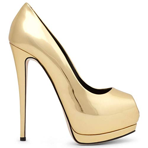 Shiney Elegant Shoes Platform Toe Banquet Peep Single Handmade Gold Women's High Heels Wedding Stiletto qnprqA