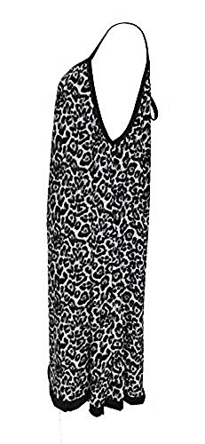 Sommerkleid Leopard Muster knielang - Größe Single (38/44) - grau