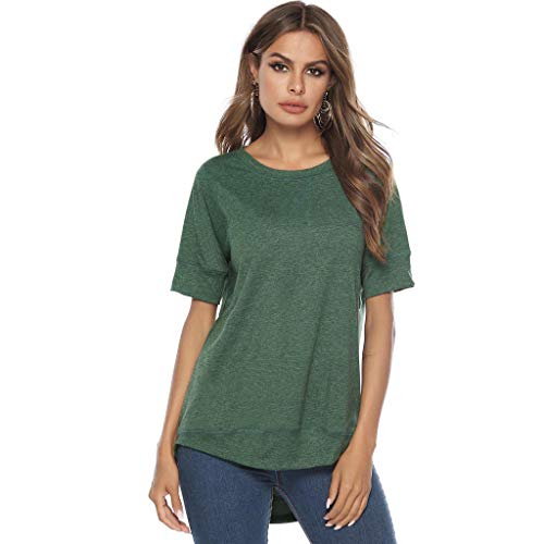 Plus Size Top,Pengy Woman Splice Tank Fashion Stitched Detail Blouses Ladies O Neck T-Shirt Loose Shirt Tops Green -