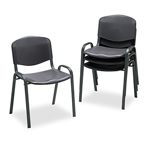 (Safco Contour Stack Chairs - Polypropylene Black Seat - Polypropylene Back - Steel Black Frame - 21.3quot; x 17.8quot; x 30.5quot; Overall Dimension)