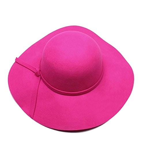 Dis_show Women Retro Wool Blend Sun Hat Floppy Wide Brim Summer Beach Hat (Rose Red)