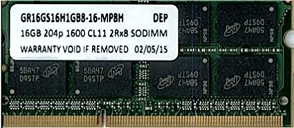 16GB PC3-12800 DDR3-1600 CL11 16c 1GBx8 2Rx8 1.5V 204-pin SODIMM Equivalent by Memoryten