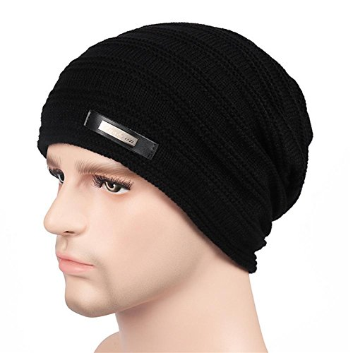 YANXH El nuevo El hombre que hace punto el casquillo más otoño grueso y el invierno al aire libre guardan el sombrero caliente del oído del cuidado , black black