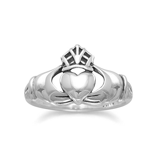 Claddagh Ring Antiqued Sterling Silver Mens Womens Smooth Band, 9