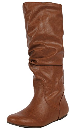 SODA Women's Zuluu Slouchy Faux Leather Knee HIgh Flats Boots, Tan, 8 M -