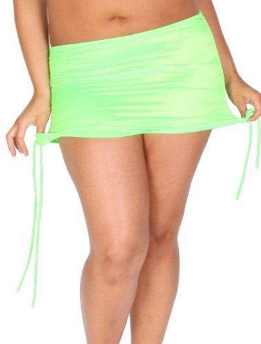 Delicate Illusions womens Plus size drawstring Lycra mini skirt -Lime, green, lime green-3x