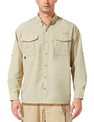BALEAF Men's UPF 50+ Hiking Shirt Outdoor Lightweight Fishing Shirt Quick Dry Khaki S