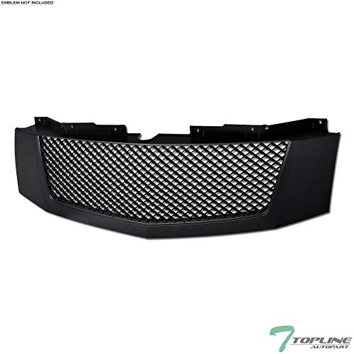 Topline Autopart Matte Black Mesh Front Hood Bumper Grill Grille ABS For 07-14 Cadillac Escalade ()