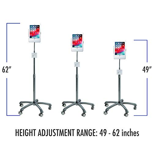 CTA Digital PAD-SCGS9 Height-Adjustable Tablet Floor Stand with Lock and Key Security, Locking Wheels for iPad (Gen. 5-6), iPad Pro 9.7, and iPad Air