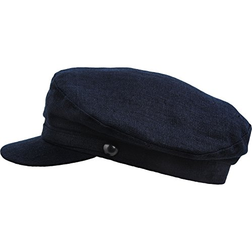 831598523 Sterkowski Men's Summer Linen Breton Fisherman Cap US 7 1/2 Navy Blue