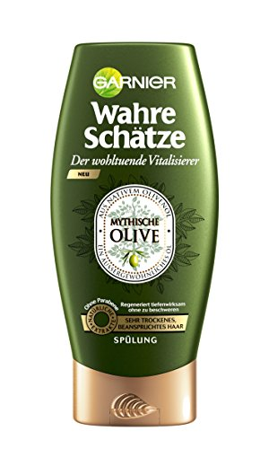 GARNIER Wahre Schätze Spülung / Conditioner für intensive Haarpflege / Regeneriert tiefenwirksam (aus nativem Olivenöl - für sehr trockenes, beanspruchtes Haar - ohne Parabene) 1 x 200ml