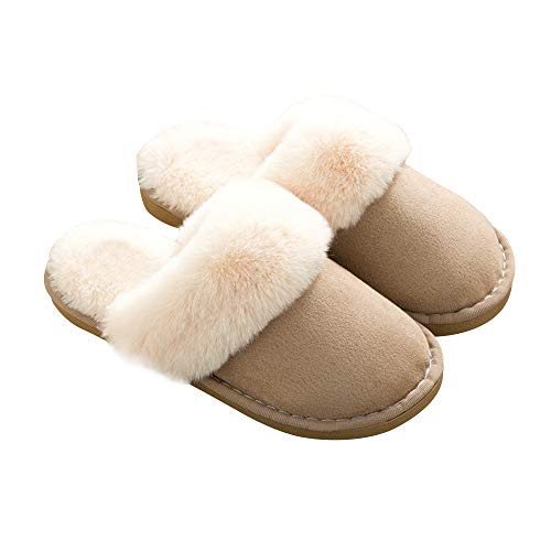 Anti Khaki Sole Slip Fur Slipper Fluffy Outdoor Suede House On Womens Indoor amp; Memory Foam Skid Lined 7FawfHxv