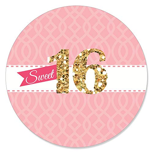 Big Dot of Happiness Sweet 16 - 16th Birthday Party Circle Sticker Labels - 24 -