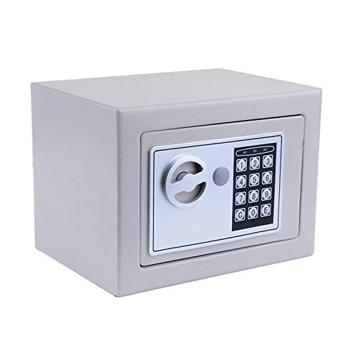"""Vividy Small/Mini Electronic Digital Steel Safe Security Box with Key for Home Office Hotel Personal Keep Money Cash Jewelry Or Document Securely, 8.9"""" x 6.5"""" x 6.5"""" (US Stock) (Sliver Grey)"""