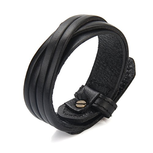 Womens Mens Black Genuine Leather Cuff Bracelet Handmade Slim Braided Belt Bangle Punk Rock Sports jewelry Bracelets, Fits 7.5