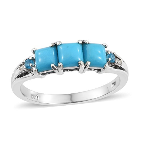 Sterling Silver Platinum Plated Square Sleeping Beauty Turquoise, Multi Gemstone Heart, Band Ring Size 9 by Shop LC