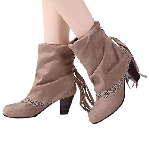 Gyoume Mid Heel Boots Women Calf Boots Tassel Boots Shoes Ladies Round Toe Boots Dress Shoes by Gyoume (Image #1)