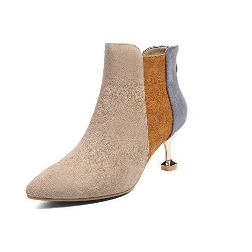 Damen Martin Heel Mode Heels Flip Reißverschluss SMILINGGIRL Boots Zurück Farblich Stiletto Passendes High High Leder Stiefel afwxUq1