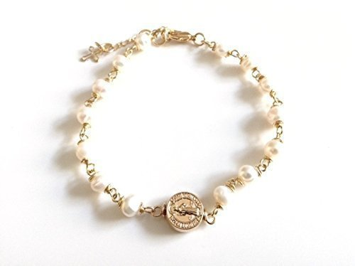 St Benedict medal adjustable bracelet cultured pearls, Pulsera San Benito