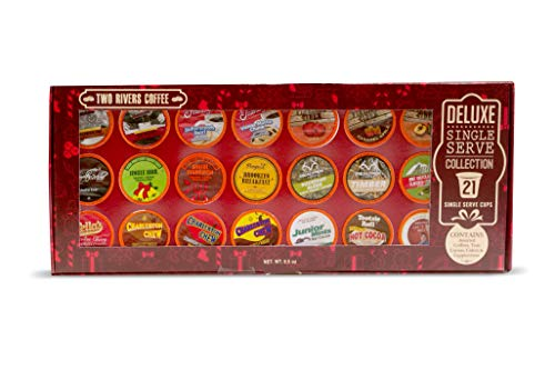 Two Rivers Coffee, Tea & Hot Chocolate Pods, Deluxe ChristmasGiftBox for Keurig K Cup Makers, 21Count]()