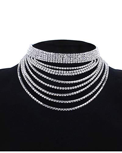 Croozy Womens Multilayer Rhinestone Choker Girls Crystal Choker Necklace Wedding Collar Party Choker Necklace (Silver)