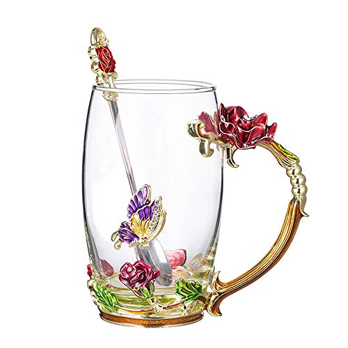 COAWG Flower Glass Tea Mug with Spoon, Lead Free Handmade Enamel Rose and Butterfly Clear Glass Coffee Cup with Handle, Unique Christmas Birthday Gift for Women Mom Grandma Female Friend(Red-12oz)