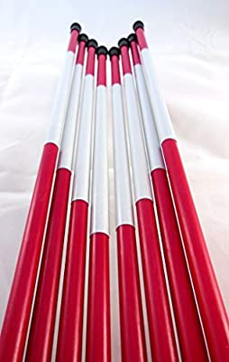 """Driveway Marker, Snow Stakes, Plow Stakes, Reflective Tape, 5/16"""" Diameter x 48"""", Fiberglass, Red, 20 Pack"""