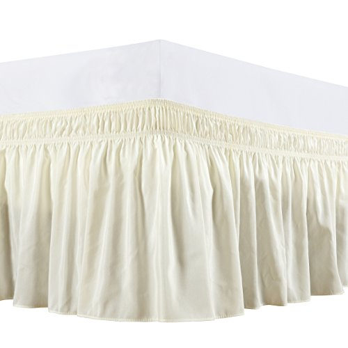 Vintage Bedskirt - Biscaynebay Wrap Around Bed Skirt, Elastic Dust Ruffle Easy Fit Wrinkle and Fade Resistant Solid Color Hotel Quality Fabric (Queen, Ivory)