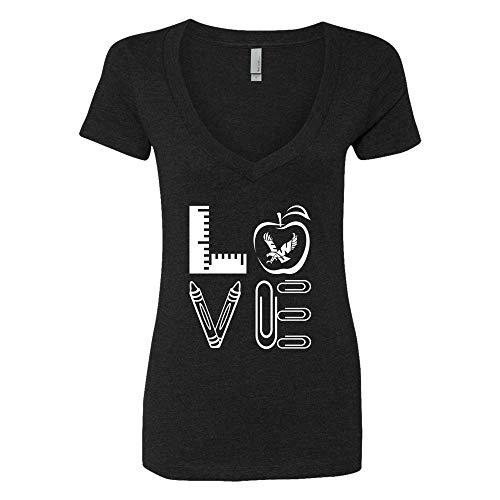 FanPrint Eastern Washington Eagles T-Shirt - Stacked Love - Teachers Things - Women's V-Neck Tee/Black/S