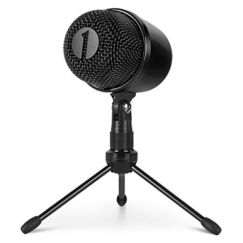 1byone USB Microphone with Tripod, Mute Button with LED, Plug and Play Cardioid Condenser USB Microphone